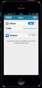 Day One synchroniseren op iOS via iCloud of Dropbox